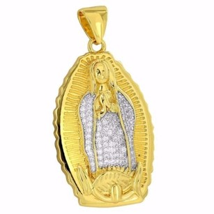 Master Of Bling Mother Mary Designer Pendant Simulated Diamonds Pave Set Religious Mother Of God
