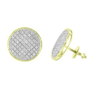 Master Of Bling Round Shape Earrings 10k Yellow Gold Real Diamonds Screw Back Womens Mens 13mm