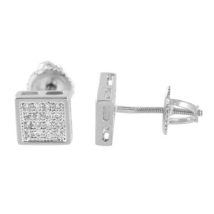 Master Of Bling Square Designer Earrings Simulated Diamonds Silver Tone Screw Back Pave Set Sale