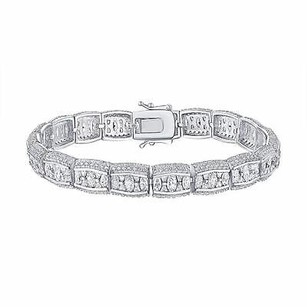 Sterling Silver 925 Bracelet Ladies Simulated Diamonds Oval Cut Custom Design