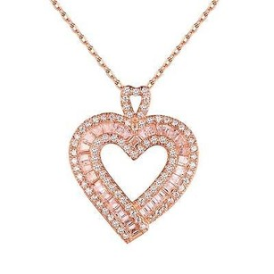 Master Of Bling Sterling Silver Heart Pendant Ladies Rose Gold Tone Simulated Diamonds Necklace