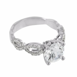 Womens Solitaire Engagement Ring Round Cut Sterling Silver Simulated Diamonds