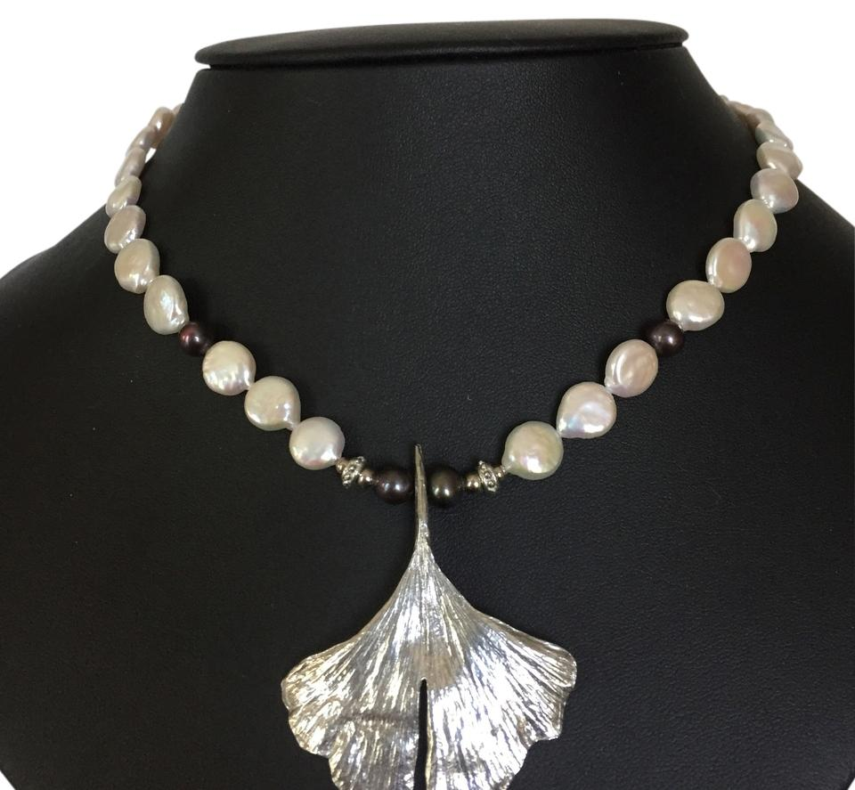 Maurice Milleur Ginkgo Coin Pearl Necklace