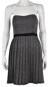 Max and Cleo Womens Gray Metallic Above Knee Strapless Sheath Dress