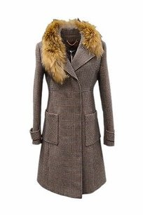 Max & Co. Maxco Black Burgundy Plaid Houndstooth Raccoon Collar Coat 120564 Browns Jacket