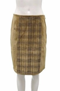 Max Mara Weekend Plaid Solid Suede Gondola A Line 150316 Skirt Camel