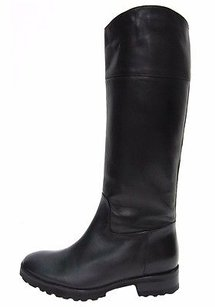 Max Mara Black Leather Pull On Blacks Boots