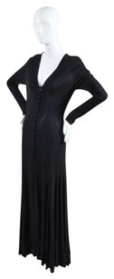 Black Maxi Dress by Max Mara Button Front