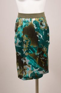 Max Mara Green Silk Panel Skirt
