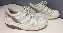 MBT Gray Stripe Synthetic Mesh Lace Up Sole Sneakers B3011 White Athletic