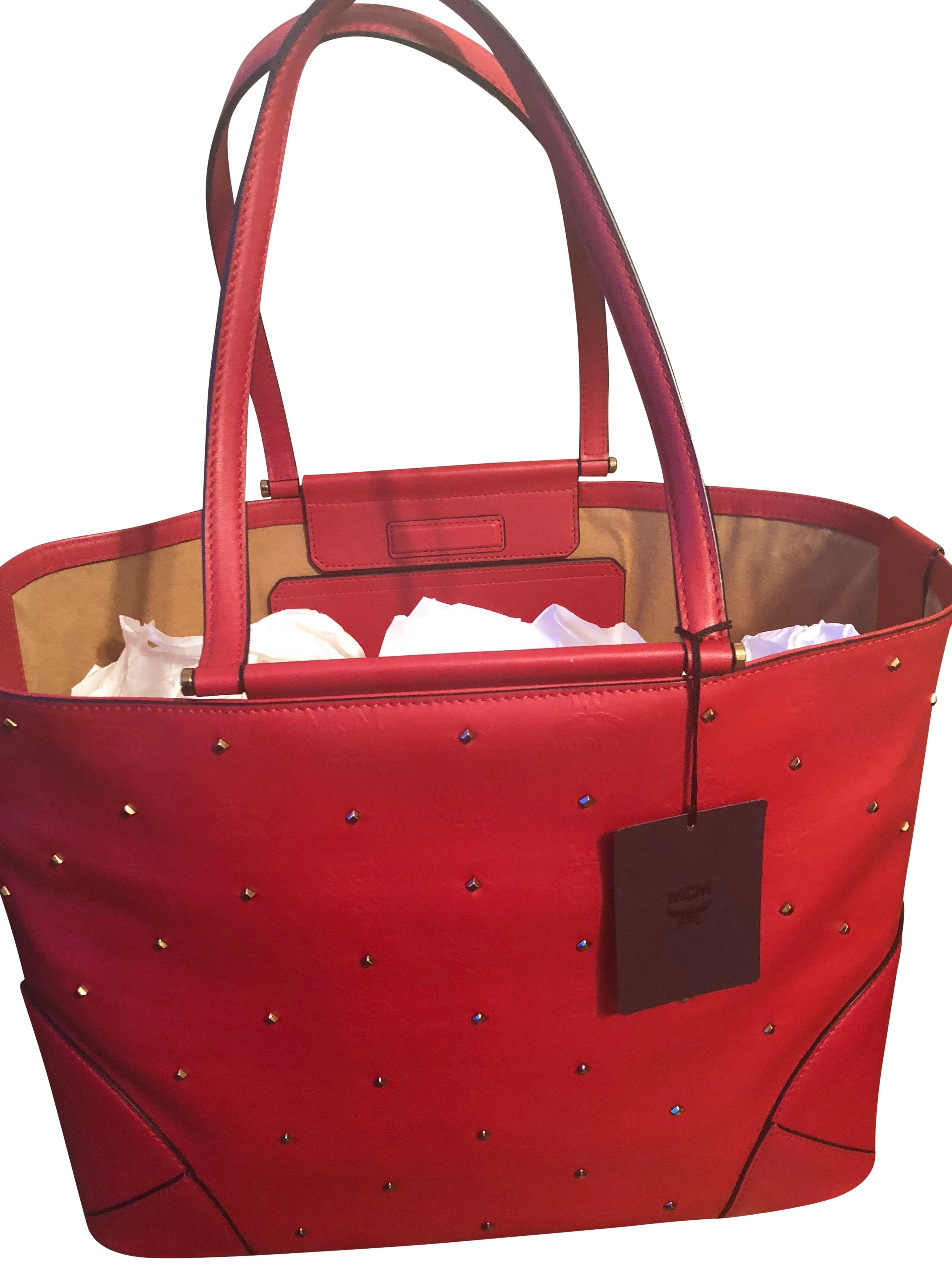 Mcm Designer mcm studded shopper ruby pvc coated canvas with