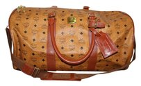 MCM Duffle Monogram Boston Brown Travel Bag