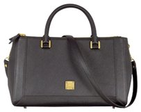 MCM Saffiano Leather Gm Mm Strap Satchel in Black