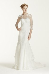 Melissa Sweet Off White/Ivory White Organza/Chantilly Lace Ms251089 Traditional Wedding Dress Size 4 (S)