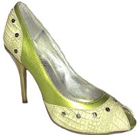 Michael Antonio Metallic Peep Toe Green Pumps