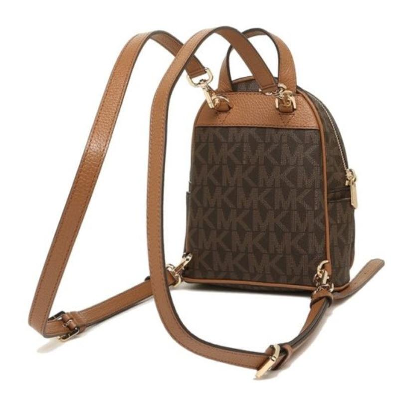 62be08021198 ... sweden michael kors abbey xs signature crossbody brown acorn leather  canvas backpack tradesy fa9a8 f577d