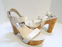 Michael Kors Beige Strappy Leather Heels Bone Platforms
