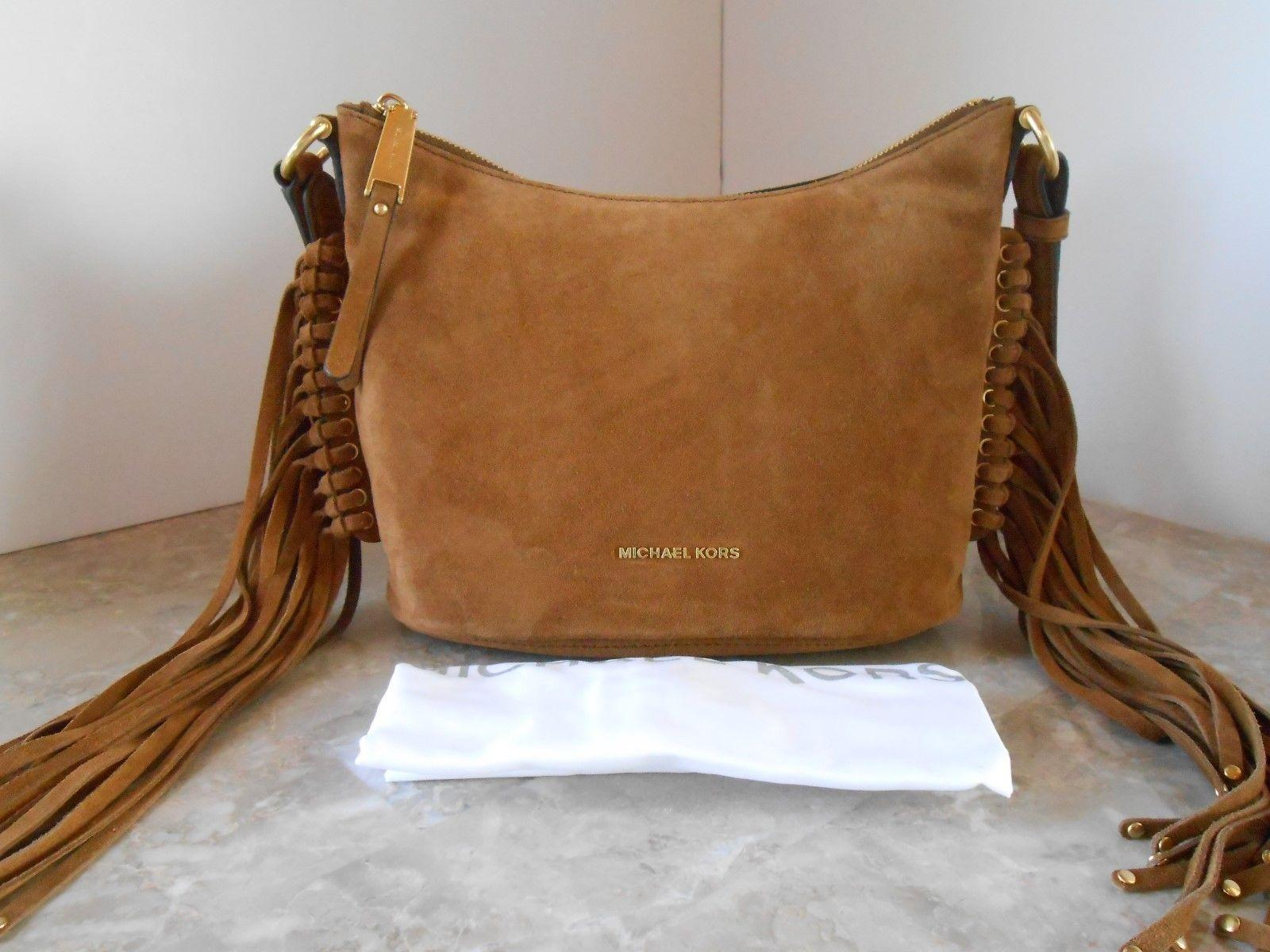 4829a463cc55 ... wholesale michael kors billy medium fringe shoulder dark caramel brown  suede leather cross body bag tradesy