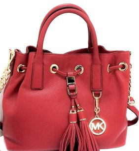 Michael Kors Camden Red Leather Large Satchel in red/gold