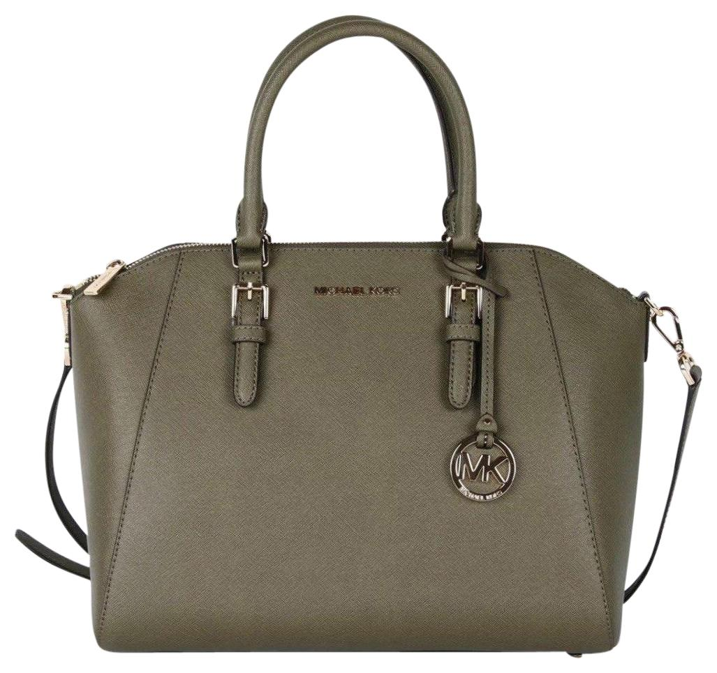 b39deb1ca721de new style michael kors satchel in green b22bb 25403