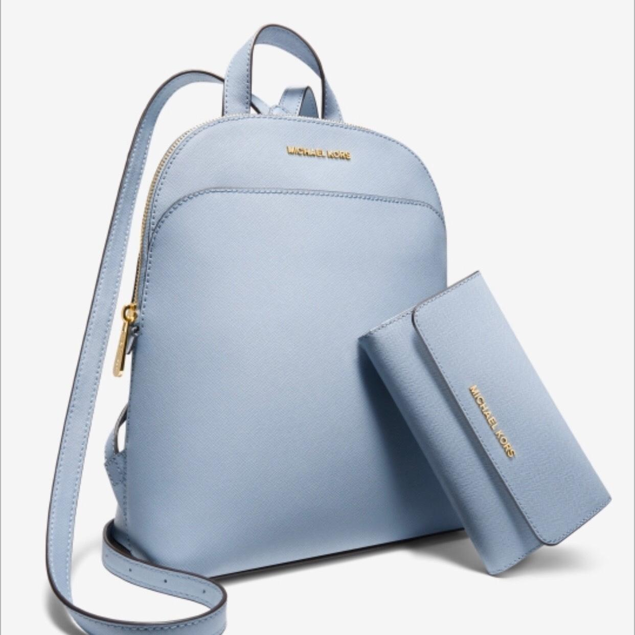 5ff5a19bc090 closeout michael kors evie flower small pebbled leather backpack pale blue  gold 368 nwt 03903 fa2e5; new zealand michael kors emmy handbagwallet set  ...