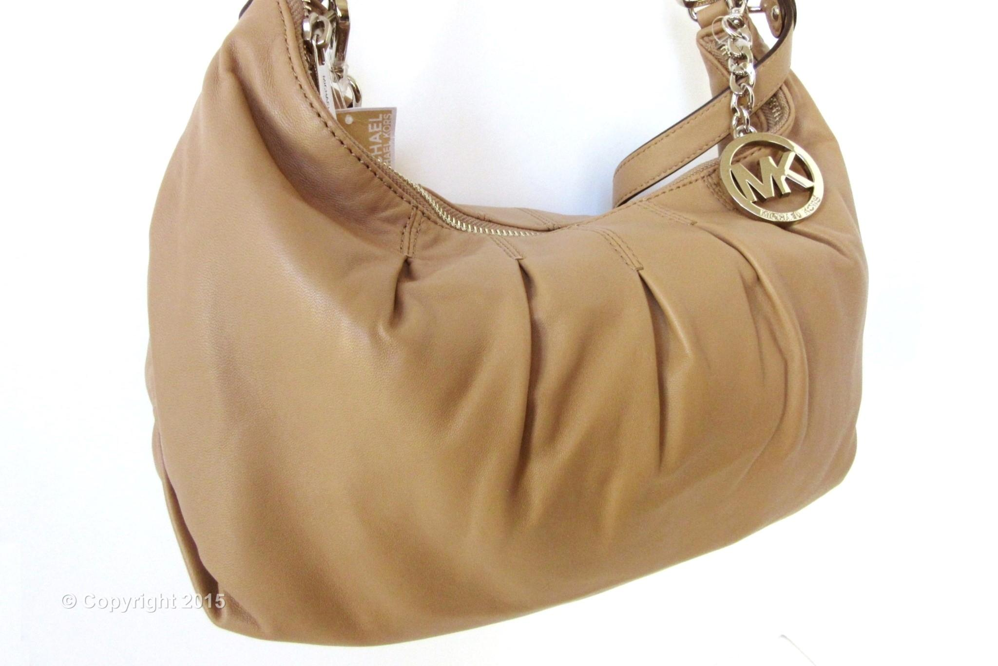 9f1b82195000 ... free shipping michael kors erin large pleated dark khaki tan leather  shoulder bag 0a5cb c37ad
