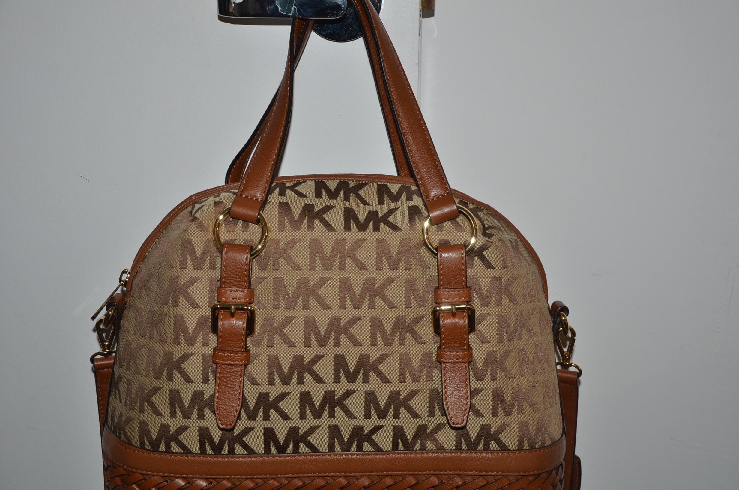 ef4f6eac8c4a ... inexpensive michael kors gladstone purse tote beige ebony luggage  jacquard leather satchel tradesy 47865 8adda