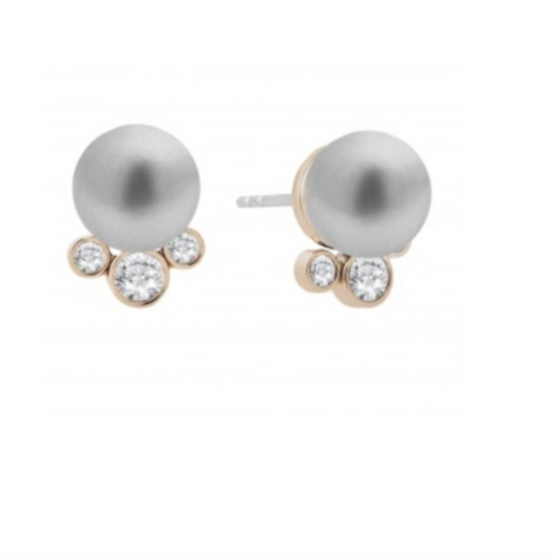 Michael Kors Grey Rose Gold Clear Modern Classic Pearl Pearl Stud
