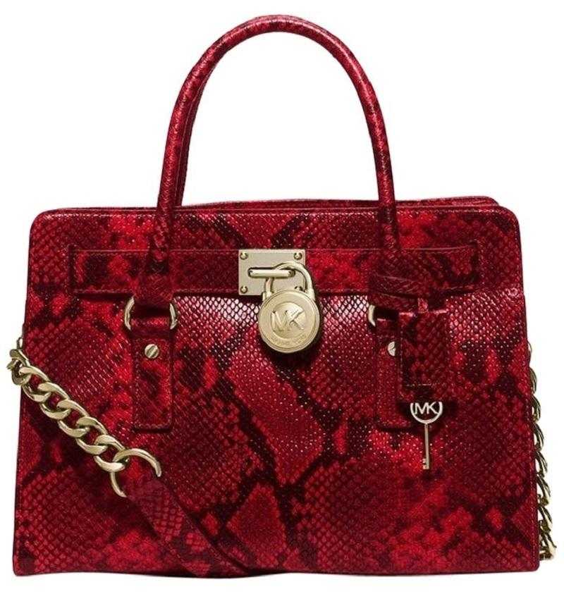 6922ccf2d87d ... leather satchel bag c7037 176cc; closeout michael kors convertible east  snakeskin reptile satchel in cherry red snake 4c6f5 63742