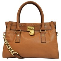 Michael Kors Hamilton Leather East West Satchel in Luggage