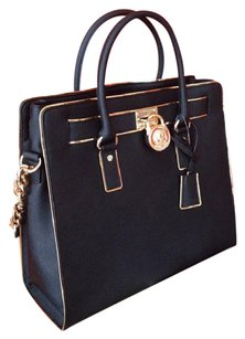 Michael Kors Hamilton Tote Leather Satchel in Black