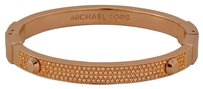 Michael Kors MICHAEL KORS Rose Gold-Tone Crystal Pave Astor Stud Bangle Bracelet MKJ2747791