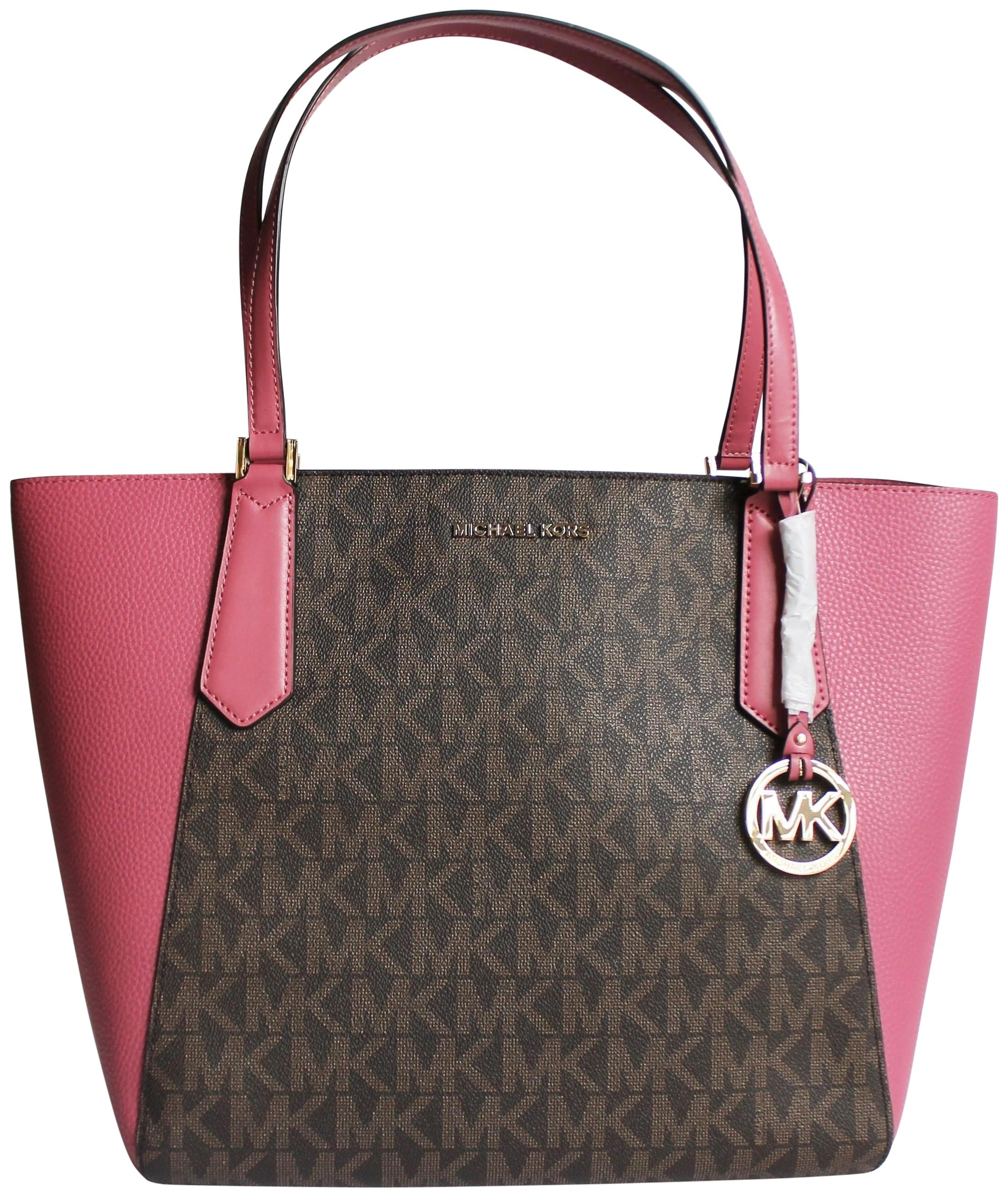 a8835a1a4b12 ... promo code michael kors tote in brown tulip pink 55ddb 4d39a