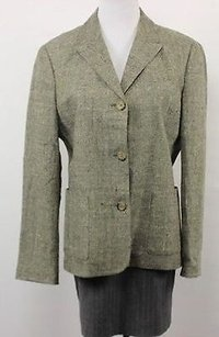 Michael Kors Kors Michael Kors Womens Brown Tweed Blazer Long Sleeve Basic Jacket