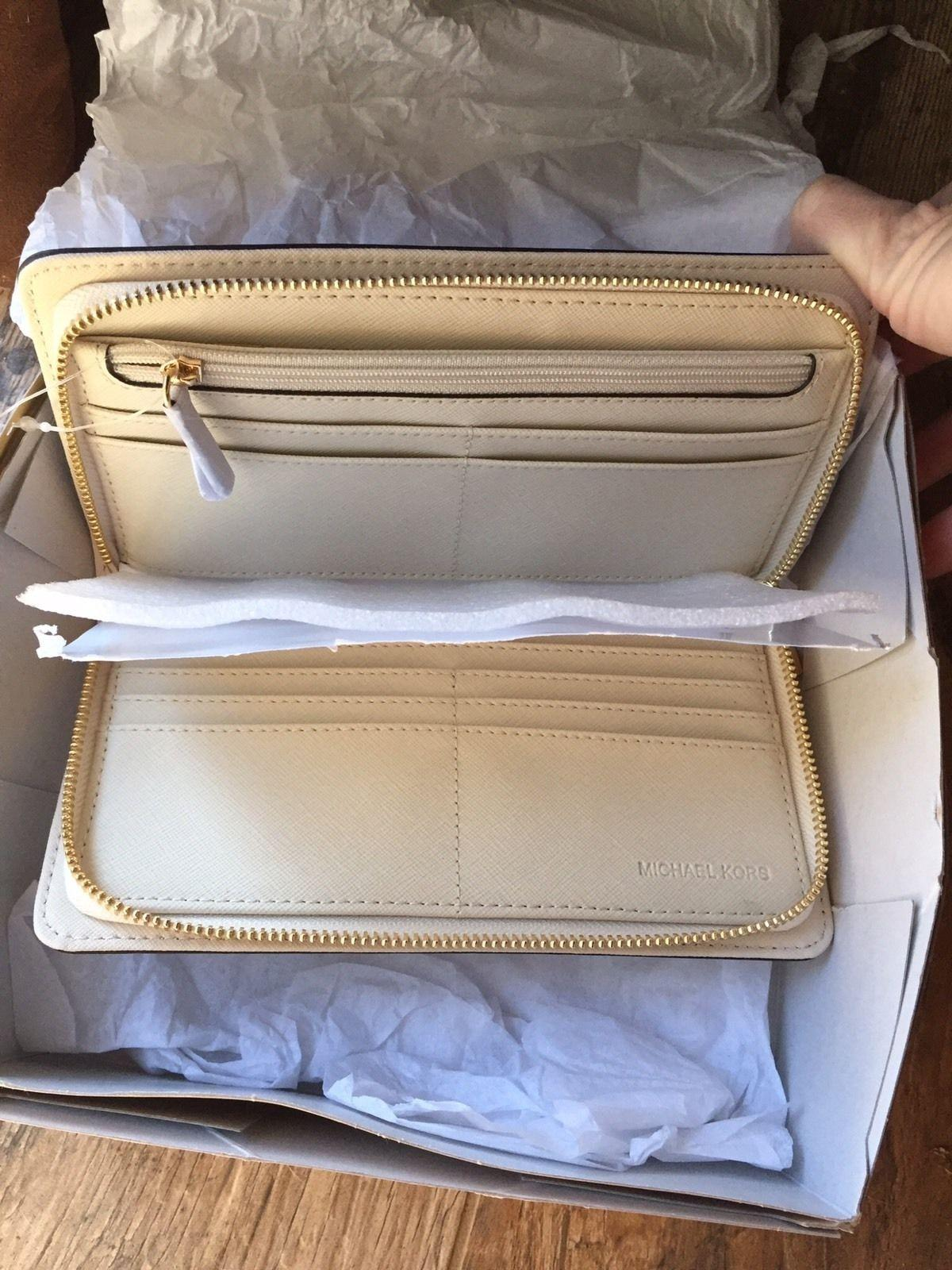 b189d3f77aba ... authentic michael kors large hamilton zip around wallet new with tags  ivory ecru gold tone hardware