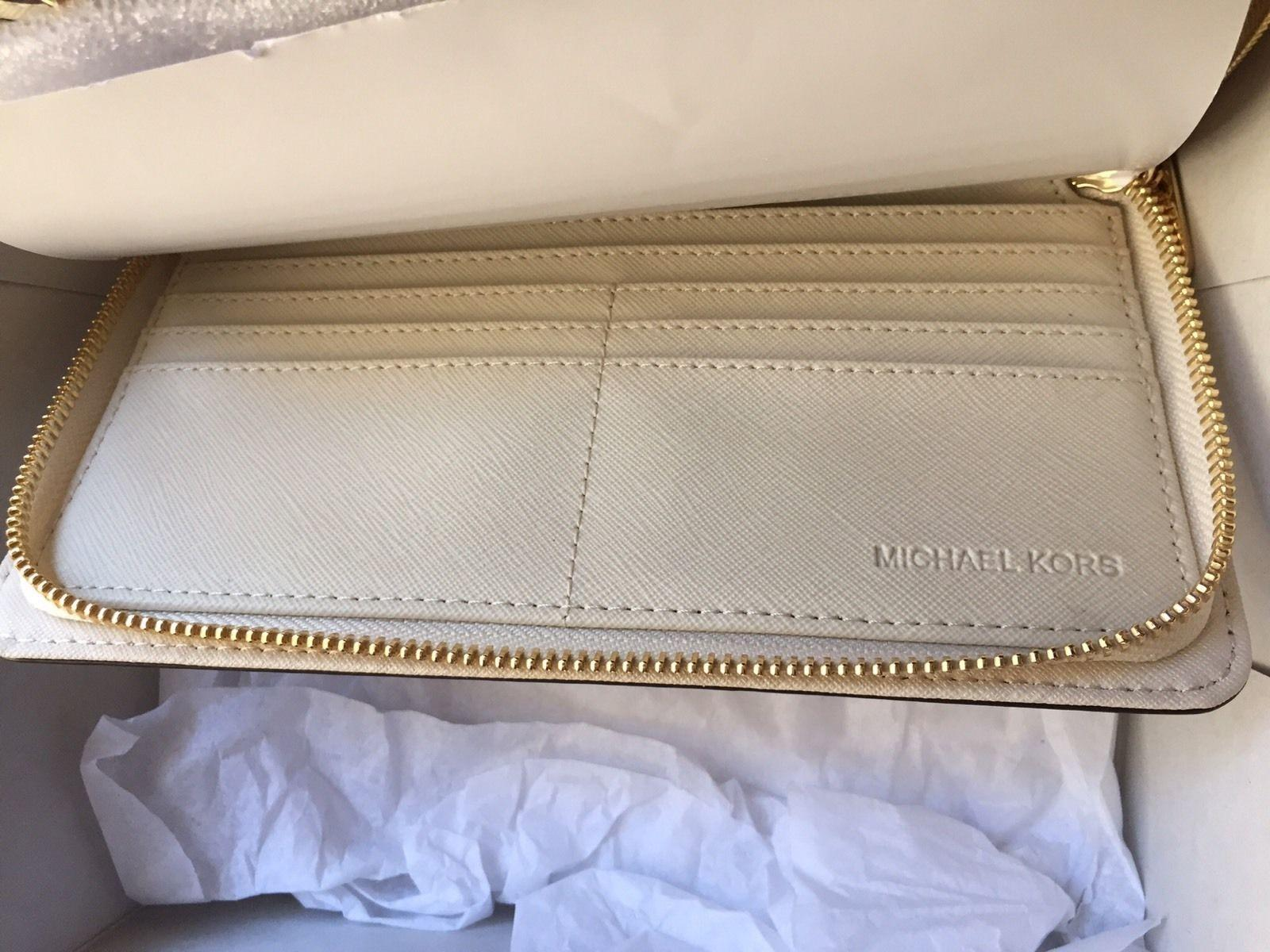 0f6d44cb721e ... authentic michael kors large hamilton zip around wallet new with tags  ivory ecru gold tone hardware