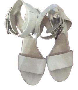 Michael Kors Leather Silvertone Hardware Wide Ankle Strap white Sandals