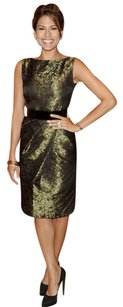 Michael Kors Metallic Printed Pleated Full Skirt Collection Dress