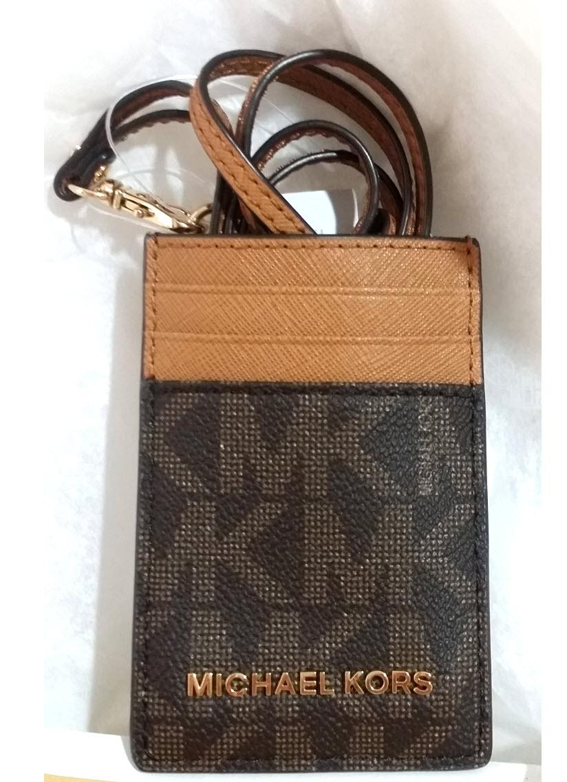 michael kors brown acorn badge id holder credit card case