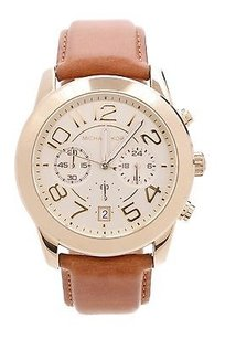 Michael Kors Michael Kors Gold-tone Stainless Steel Brown Leather Mercer Watch