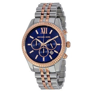 Michael Kors Michael Kors Michael Kors Lexington Chronograph Navy Dial Two-tone Unisex Watch