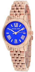 Michael Kors MK3272 Petite Lexington ,ROSEGOLD BLUE FACED , NEW WITH BOX AND TAG