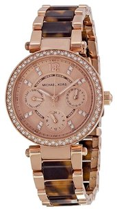 Michael Kors MICHAEL KORS Rose Dial Rose Gold-tone and Tortoise-shell Ladies Watch