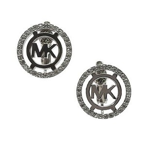 Michael Kors Michael Kors Silver-tone Heritage Logo Clip-on Earrings