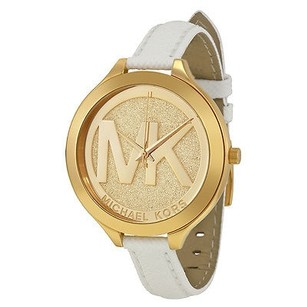 Michael Kors Michael Kors Slim Runway Champagne Dial White Leather Ladies Watch