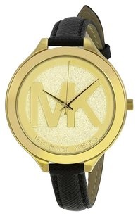 Michael Kors MICHAEL KORS Slim Runway Gold Dial Black Leather Ladies Watch