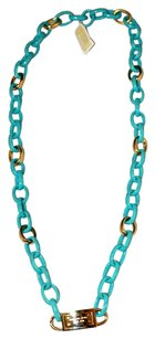 Michael Kors MICHAEL KORS TURQUOISE CHAIN LINK WITH POLISHED GOLD LINK ACCENTS LOGO LOCK ACCENTED LONG NECKLACE NEW