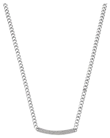 Michael Kors Michael Kors Women's Crystal Pave Reversible Logo Silver Necklace MKJ3355