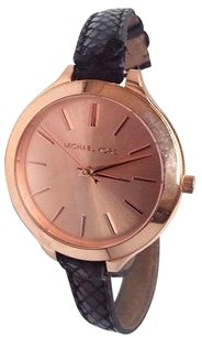Michael Kors Michael Kors Womens Mk2322 Slim Runway Rose Dial Embossed Leather Watch