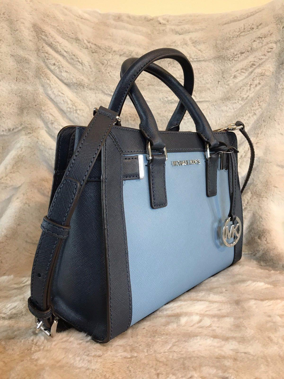 fd0cd6e8e9bc ... discount code for michael kors mk dillon small monogram brown crossbody  strap satchel in blue navy